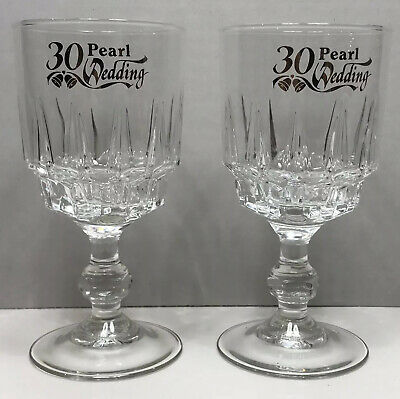 Vintage Glasses Pair 30th Wedding Anniversary Pearl French Glass Luminarc Fiesta • 8.76£