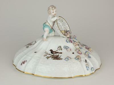 Fine 18thC Meissen Tureen Cover, Putto, Painted Birds, Insects, Flowers • 36£
