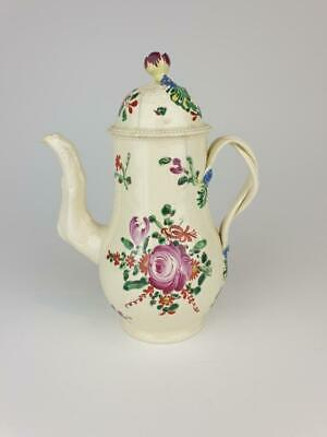 Good Wedgwood Creamware Coffee Pot, Double Strap Handle, Flowers C1770 • 49.98£