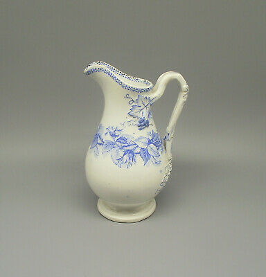 Antique 19thC Scottish Pottery Blue Tranfer Printed Water Jug Circa 1870 • 27.50£