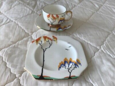 Carlton Ware Art Deco Trio. Stunning Perfect Condition • 40£