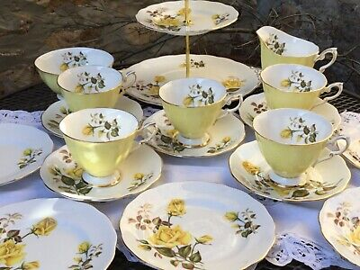 Vintage China Tea Set With Cake Stand - Yellow Roses • 29.99£