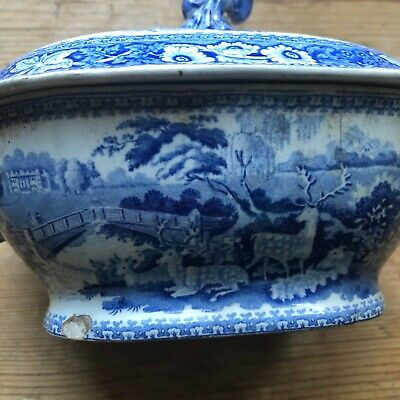 ANTIQUE TRANSFERWARE Blue & White Pearlware Osterley Park Ridway Park Tureen1820 • 10£