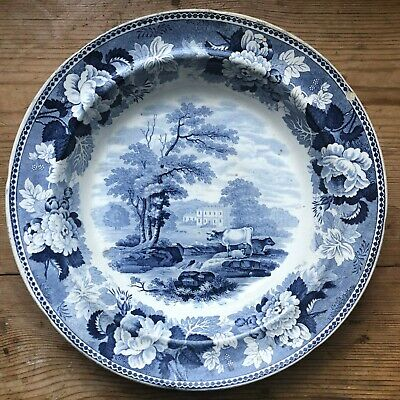 ANTIQUE TRANSFERWARE Blue & White Pearlware Tedesley Hall Bowl 1820 • 12£