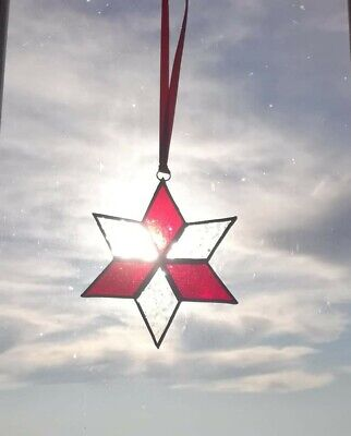 Stained Glass Sun Catcher Star Unusual Gift / Christmas Decoration • 12£