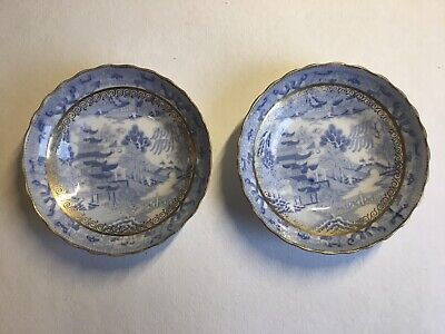 Pair Of Porcelain Saucers In Pagoda Pattern Possibly Spode C1790 • 4£