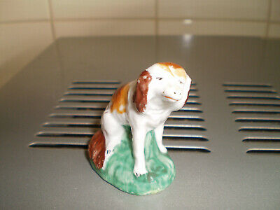 Antique Staffordshire Pottery Figure Of A Small Seated Spaniel On A Green Base • 5£