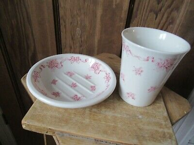 Laura Ashley Pink Ribbons Soap Dish And Tumbler Made In England • 10£