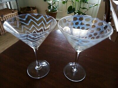 Lovely Pair Of Large Oka Glass Cocktail Or Bubbly Glasses • 20£
