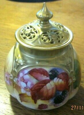 Royal Worcester Lidded  Pot Pourri . Decorated By Kitty Blake • 248£