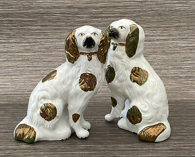 Antique Staffordshire Flatback Dogs X Pair - Damaged & Restored  • 35£