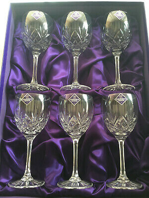 6 Timeless Classic Quality Crystal Wine Glasses Boxed. • 99£