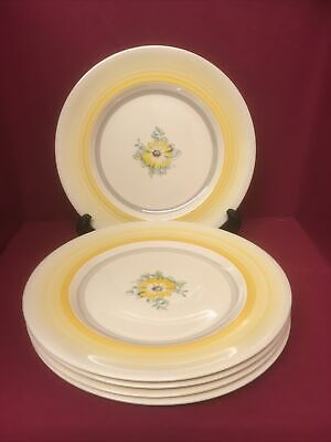 Gray's Pottery Yellow Banded Hand Painted Salad Plates X 5 • 12.50£