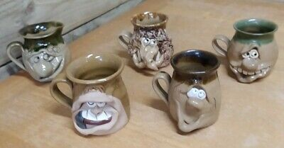 Pretty Ugly Pottery Tea Cup Mugs X 4 And Jug - Welsh Pottery - Unique Set • 54.99£