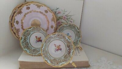 Paragon Double Warrant Tea Cups And Saucers Set. Pink & Mint Green English China • 14.99£