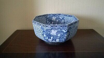 William Adams Blue & White Chinese Octagonal Pottery Bowl Staffordshire • 29.95£