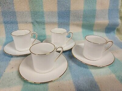 Queens China White Gold Coffee Set Cups Saucers • 4.95£