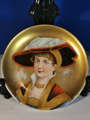 Rare Sevres Antique 19th Miniature Portrait & Porcelain Small Plate With Gold • 49.99£