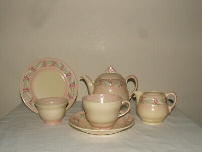 Clarice Cliff  Art Deco Pink Bell Flowers Rare Shaped Tea-4-one Stunning • 9.49£