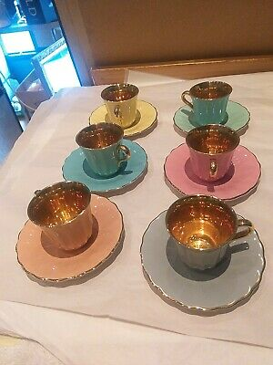 Wade  Multicolored Cup And Saucer With Gold , X 6 • 10£
