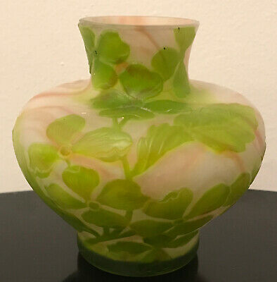 """French Cameo Antique Art Cabinet Glass Vase Galle Daum Unsigned Mint 4"""" • 424.24£"""