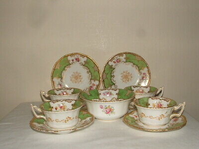 Coalport Art Deco Green Handpainted Floral Batwing China As Found • 14.99£