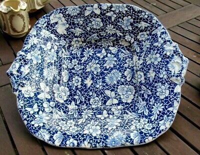Antique Blue & White  Calico  Aesthetic Ware Square Plate / Bowl. • 17.50£