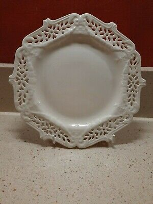 Lovely English Creamware Plate With Pierced Patterned Edges • 19.99£