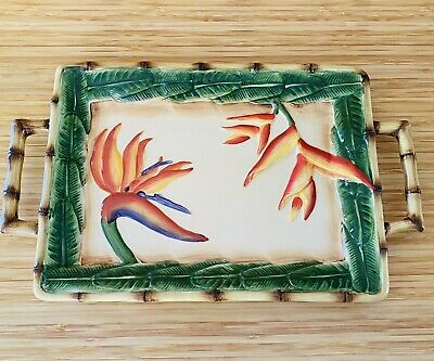 New Pacific Rim Floral Bird Of Paradise Bamboo Polynesian Serving Tray Platter  • 10.31£