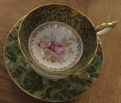 Aynsley Onyx Green With Gold Cup & Saucer Beautiful.Repaired Handle. Cabinet Set • 8.99£