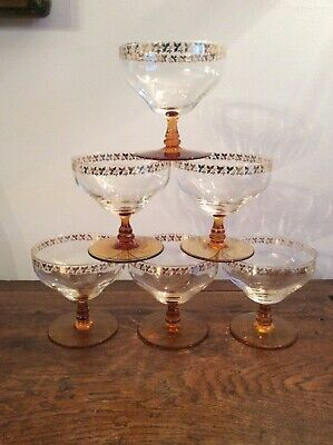 Set Of 6 CRYSTAL Art Deco TOASTING GLASSES - CHAMPAGNE SAUCERS - AMBER & GOLD • 35£