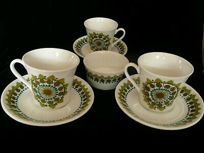 3 Figgjo Flint Cups And Saucers And Little Bowl,  Rare Design, Snowflake, NORWAY • 26.50£