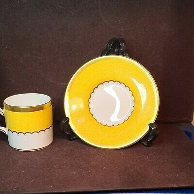 Coalport Connaught Yellow & Gold Coffee Cups & Saucers • 14.99£