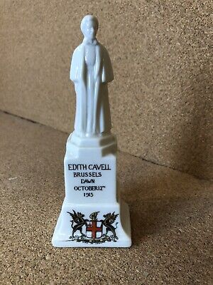 WWI Crested Ware Edith Cavell Statue - Willow Art China Brussels Dawn 1915 • 10£