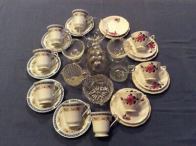 Vintage Tea Sets (2 X Part Sets) And Glass Items - 29 Items -good Used Condition • 12£