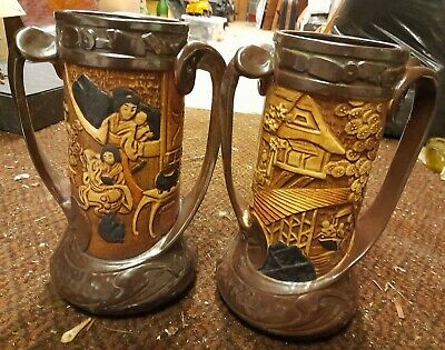 Antique Bretby Pottery Pair Of Large Chinoiserie Oriental Design Vases. Very... • 70£
