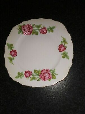 Royal Vale Floral China Pink Roses Square Side Plate • 4.50£