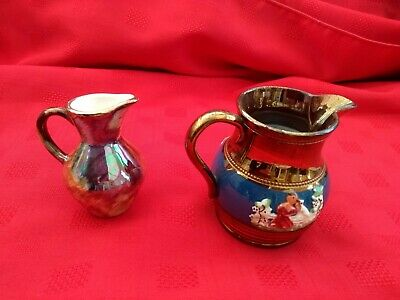 2 Bronze Jugs A/ Lustreware With Dec See Pic  Oldcourt!!  B/ Plain Swirl  • 4.99£