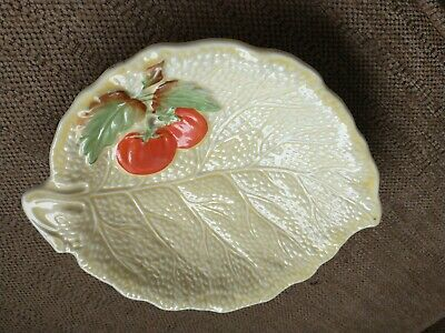 Fieldings Crown Ware Salad Serving Dish Cabbage Leaf Tomato Creamy Yellow • 2.25£