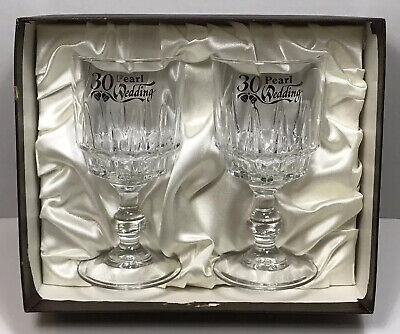 Vintage Glasses Pair 30th Wedding Anniversary Pearl French Glass Luminarc Fiesta • 7.89£