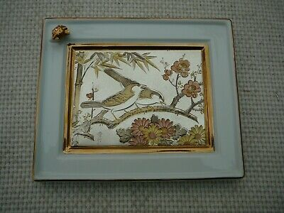 Ceramic Picture, Japanese Chokin Design, Two Birds Picture • 1.45£