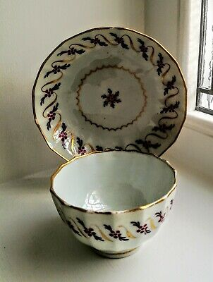 Late C18th Worcester Flight And Barr Fluted  Wrythen  Tea Bowl And Saucer. • 6.50£