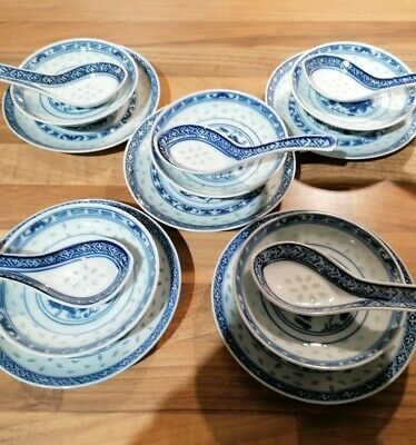 Chinese Rice Pattern Set 5 Spoons 5 Plates 5 Dipping Soy Dishes. Plates 14cm. • 20£