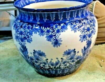 Huge Royal Doulton Blue & White Jardiniere / Planter: Late 1800's • 175£
