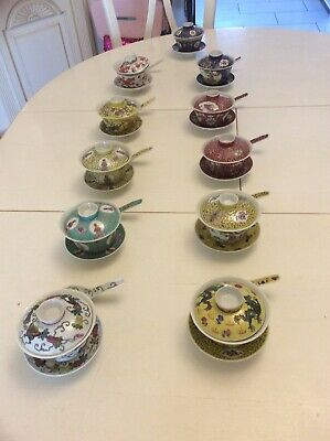 Vintage Set Of 10 Chinese Soup Bowls,Saucers, Lids & Spoons • 26£