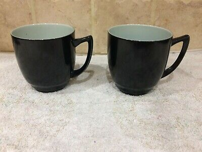 "Branksome China Vintage Twin Tone 1950s 2 Cups 3"" Tall Black Pale Blue Inside  • 14.95£"