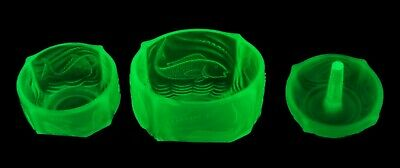 Walther & Sohne Art Deco Green Uranium Glass Nymphen Part Dressing Table Set • 9.95£