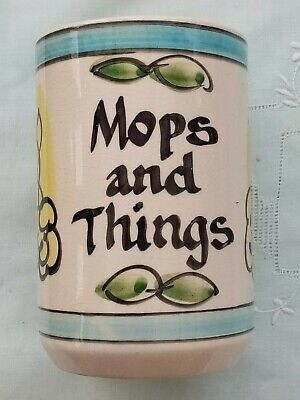 Vintage 1950's Geoffrey Maund, Mops And Things Hand Painted Ceramic Kitchen Pot  • 5.99£