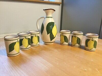 Moses Handmade Cyprus Pottery Pitcher & Cups Lemon Design Collectable Jug • 15£