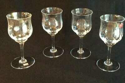 Baccarat Capri Optic Water Or Wine Glasses Goblets 7 1/8  Tall - Set Of 4 - EXC • 164.58£